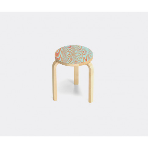 Artek Seating - 'Stool 60', Red In Red / Turquoise Wood