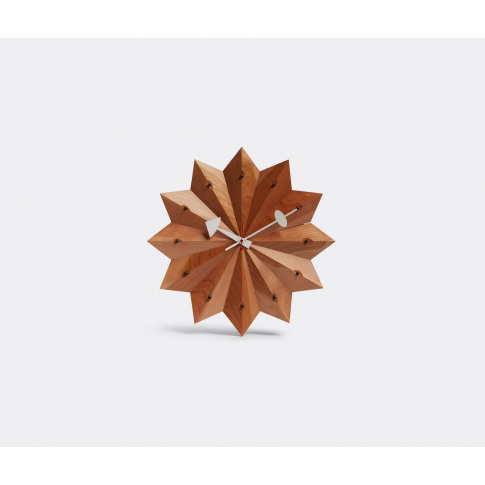 Vitra Mirrors And Clocks - 'Nelson' Fan Clock In Brown Wood