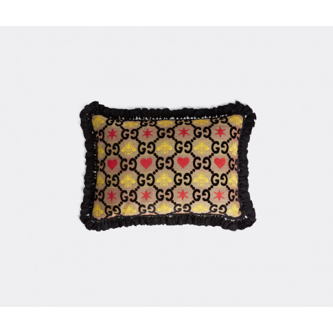 Gucci Textile And Wallpaper - 'Gg' Cushion In Black,...
