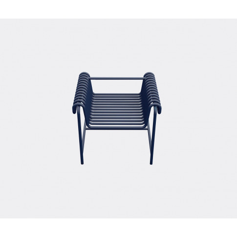 Blockbau Seating - Armchair 22.24, Blue In Blue Steel, Powder Coated