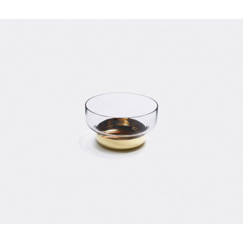 Nude Vases - 'Contour' Gold Bowl In Clear, Gold Lead...