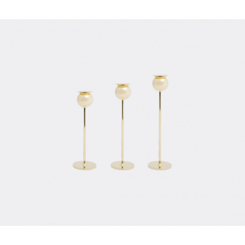 Skultuna Candlelight And Scents - 'Tulip' Candlestick, Set Of 3 In Brass 100% Brass