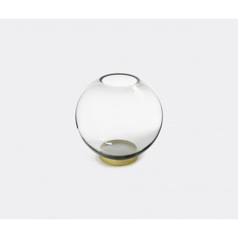 Aytm Vases - 'Globe' Vase With Stand In Black, Brass...