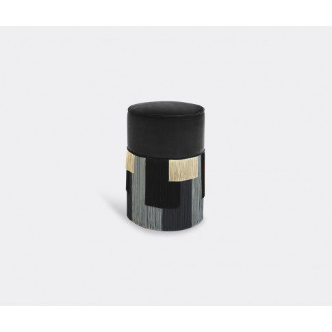 Lorenza Bozzoli Couture Designer's Favorite Seating - 'Couture Geometric Stripe' Ottoman, Grey In Grey, Multicolor Beech Wood, Velvet, Viscose