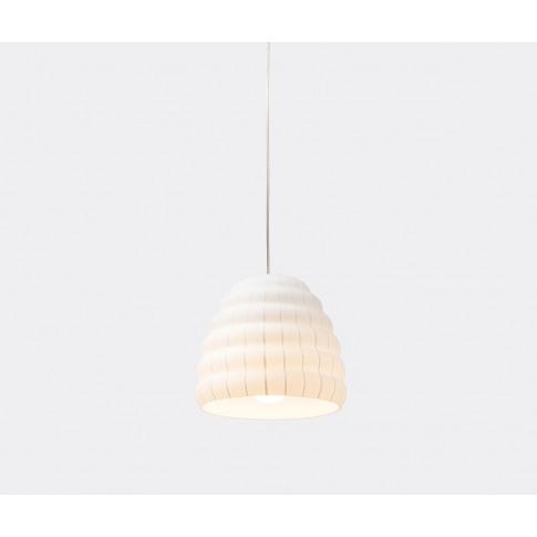 Established & Sons Lighting - 'Filigrana Beehive' Light, White In White Glass Shade, Metal Ceiling Ros