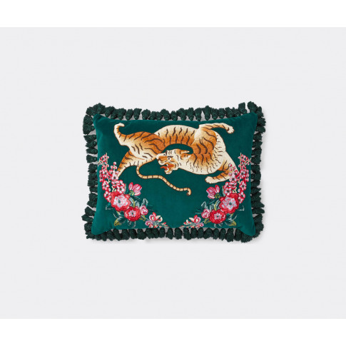 Gucci Textile And Rugs - 'Tiger' Velvet Cushion In M...