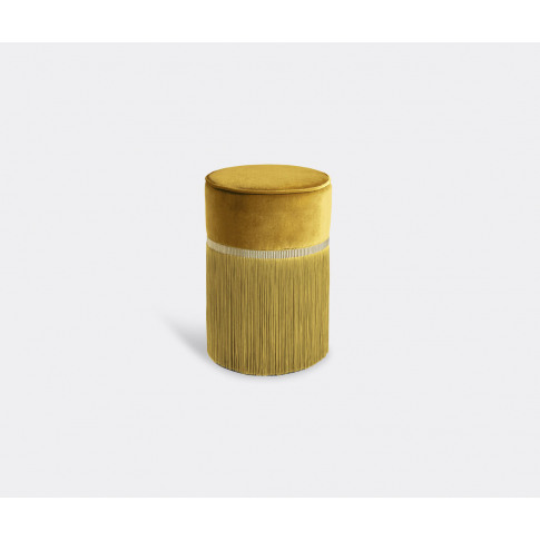 Lorenza Bozzoli Couture Furniture - 'Couture' Ottoman, Small, Yellow In Yellow Beech Wood, Velvet 100% Trevir