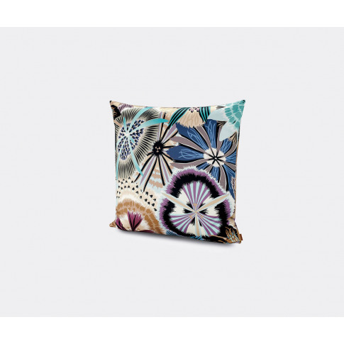 Missonihome Textile And Wallpaper - 'Passiflora Giant' Cushion, Large In Blue Multicolor 100%Co