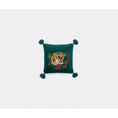 Gucci Textile And Rugs - 'Tiger' Velvet Cushion In E...