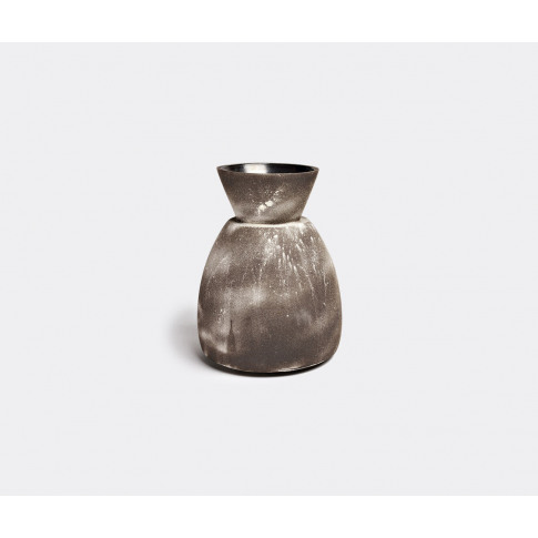 Sophie Dries Architect Vases - 'Siho' Vase In Dark Brown And White Black Stoneware And Projected