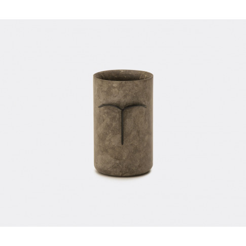 Nero Design Gallery Vases - 'Mec' Vase, Black In Grey Stone, Brass