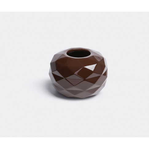 Bosa Vases - 'Cut' Vase In Glossy Coffee Brown Ceramic