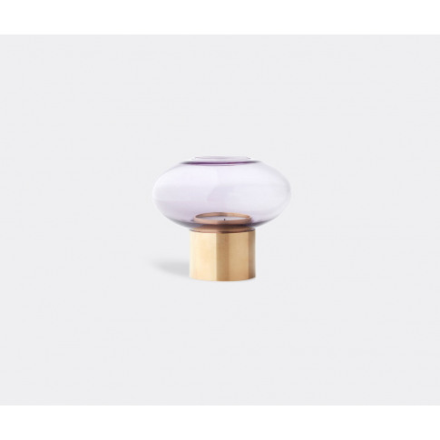 Applicata Candlelight And Scents - 'Mush' Candleholder, Lavander In Lavender Solid Brass, Blown Glass