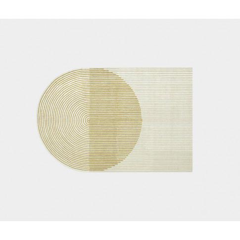 Gan Rugs - 'Ply' Rug, Yellow In Brown 100% New Wool
