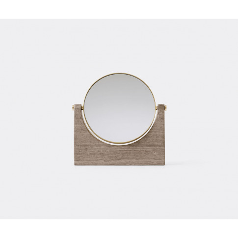 Menu Mirrors And Clocks - 'Pepe' Marble Mirror, Brass And Brown In Brass, Brown Marble, Brass, Glass Mirror