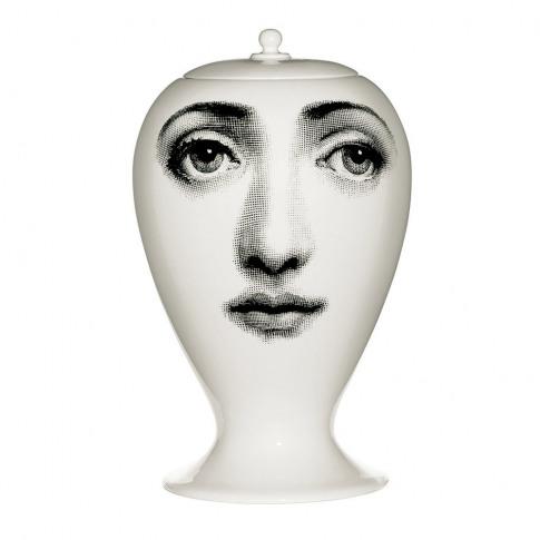 Fornasetti - Buongiorno-Buonanotte Ceramic Vase - White