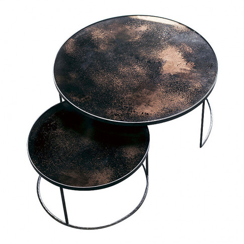 Notre Monde - Heavy Aged Mirror Coffee Table Set - R...