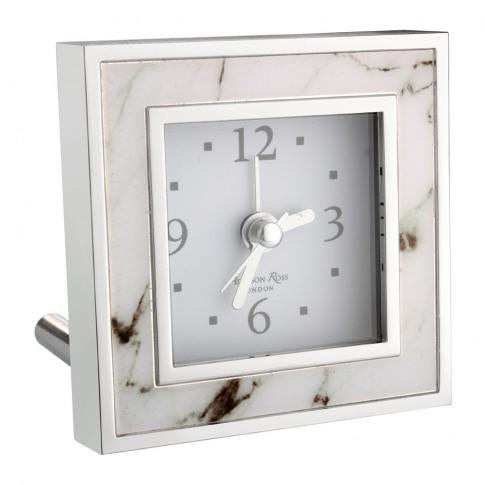 Addison Ross - Square Alarm Clock - White Marble