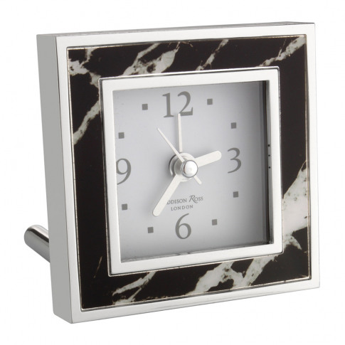 Addison Ross - Square Alarm Clock - Black Marble