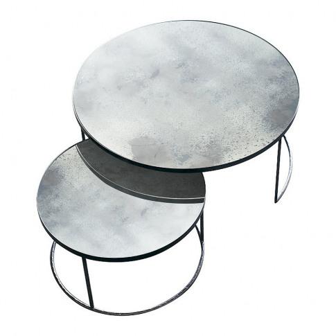 Notre Monde - Heavy Aged Mirror Coffee Table Set - R...