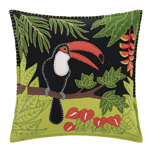 Jan Constantine - Tropical Toucan Cushion - Black