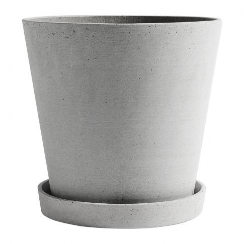 HAY - Polystone Flowerpot & Saucer - Grey - XXL