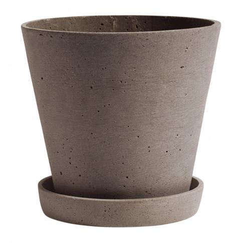 Hay - Polystone Flowerpot & Saucer - Terracotta - Large