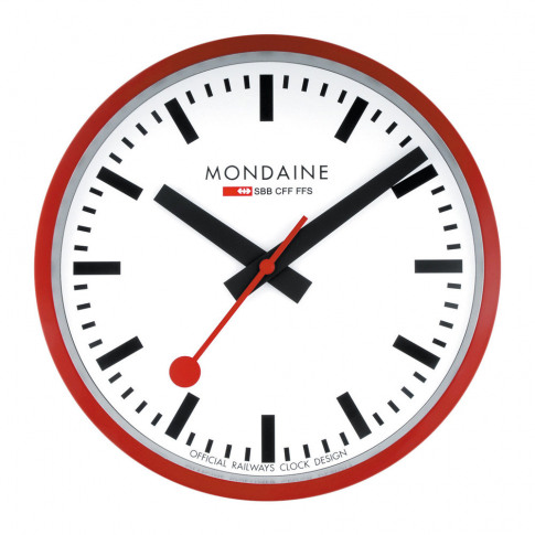 Mondaine Sbb - Classic Wall Clock - Red - Small