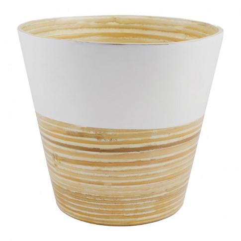 Iron & Clay - Bamboo Planter - White