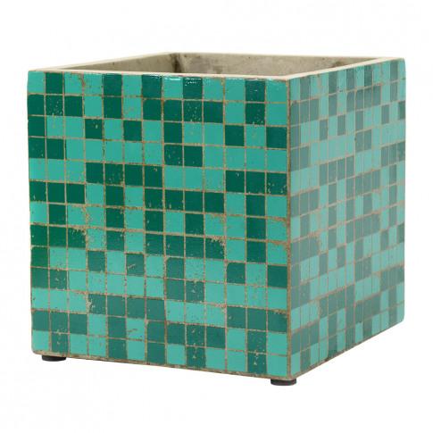 Serax - Marie Mosaic Green Square Plant Pot - 22cm