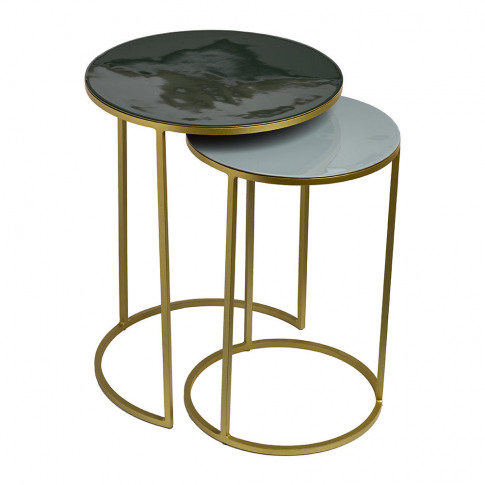 Pols Potten - Enamel Side Table - Set of 2 - Green/Grey