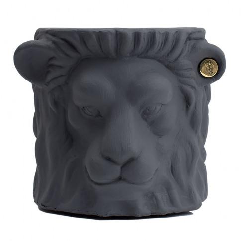 Garden Glory - Terracotta Lion Plant Pot - Small - Grey