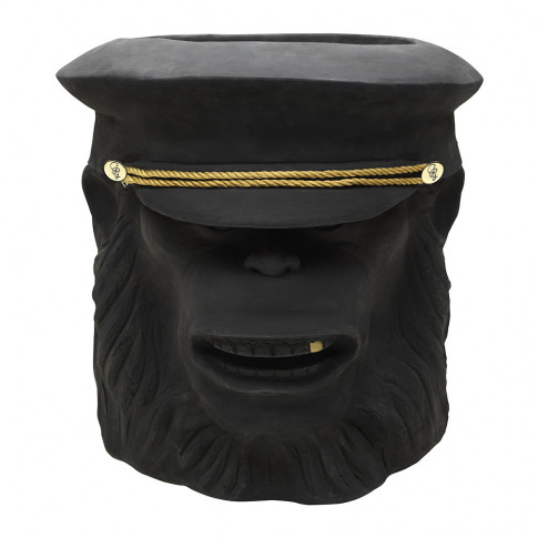 Garden Glory - Terracotta Chimpanzee Officer Plant Pot - Black