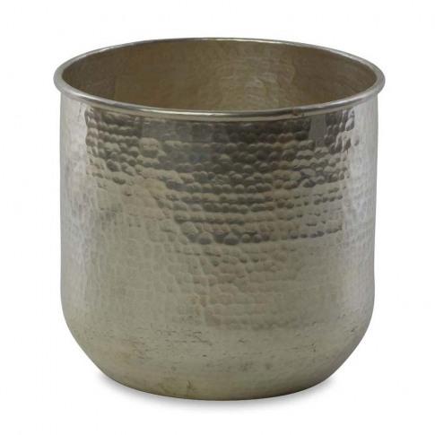 Nkuku - Rhuna Round Planter - Silver - Large