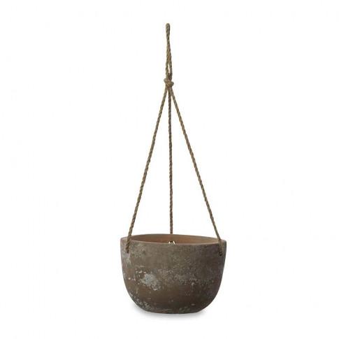 Nkuku - Affiti Hanging Clay Planter - Antique Grey -...
