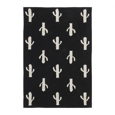 Lorena Canals - Cactus Stamp Washable Rug - Black & ...