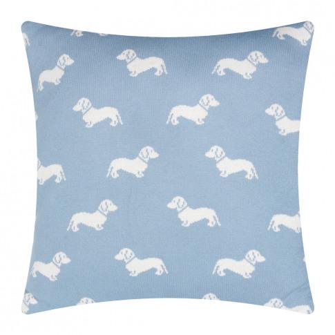 Emily Bond - Knitted Dachshund Cushion - 50x50cm - Blue