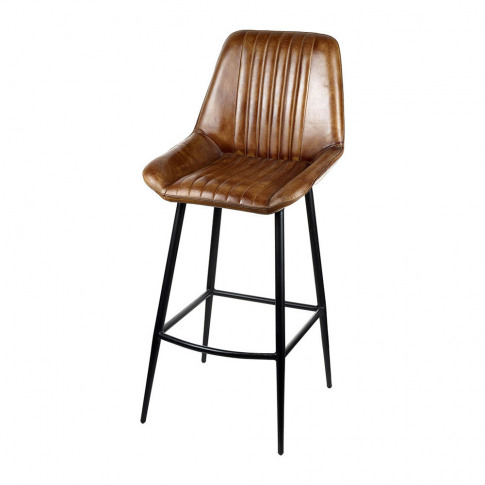 A by Amara - Leather Billy Barstool - Brown