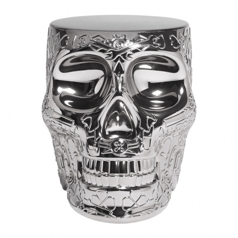 Qeeboo - Mexico Skull Stool/Side Table - Silver