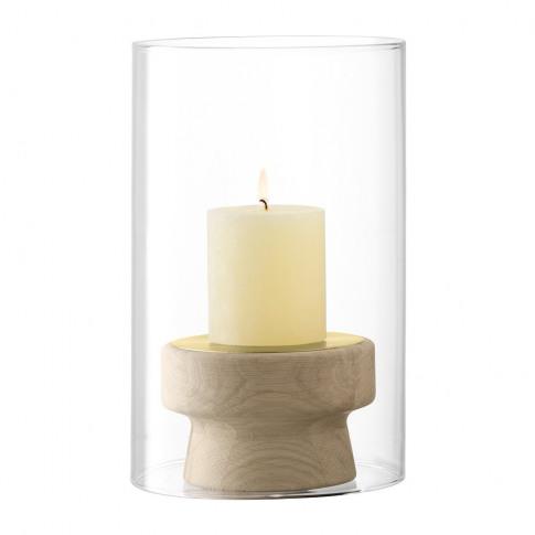 Lsa International - Mistral Oak Candle Holder & Glass Shade - 25.5cm