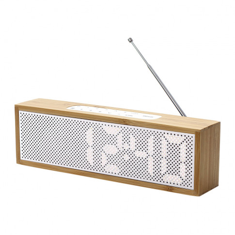 Lexon - Titanium Bamboo Led Clock Radio - Bamboo White