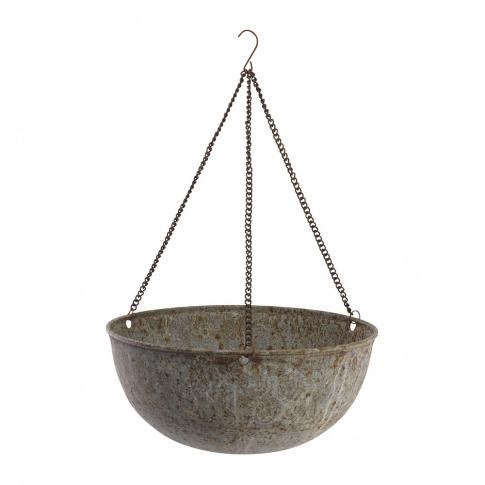 Nkuku - Abari Round Hanging Planter - Aged Zinc - Small