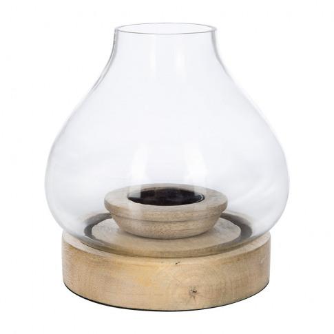 Nkuku - Naryla Glass Lantern - Mango Wood - Small