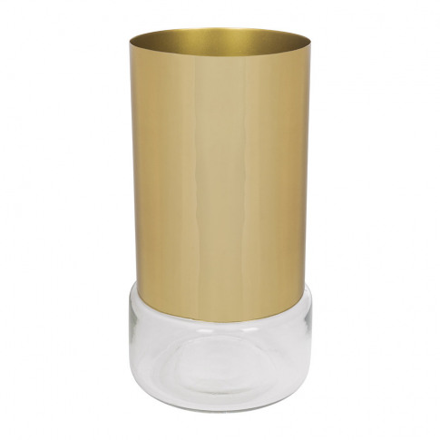A By Amara - Tube Vase - Clear Glass/Gold Steel