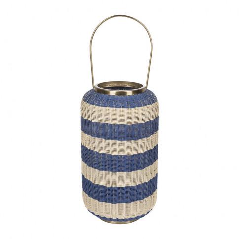 A By Amara - Tall Wicker Weave Hurricane - Blue/White