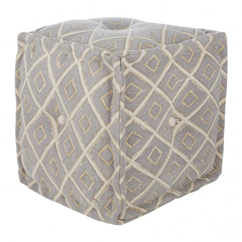 A By Amara - Diamond Press Cube Pouf - Grey/Natural