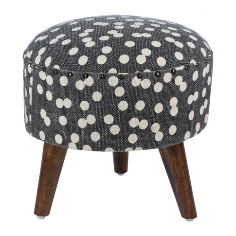 A By Amara - Spotted Round Stool - Navy/Natural