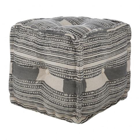 A By Amara - Printed Stripe Cube Pouf - Grey/Natural