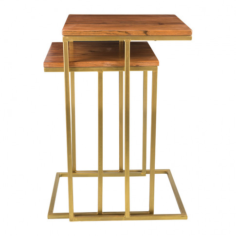 A By Amara - Wooden Nesting Side Tables - Square - S...