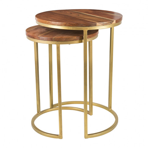 A By Amara - Wooden Nesting Side Tables - Round - Set Of 2